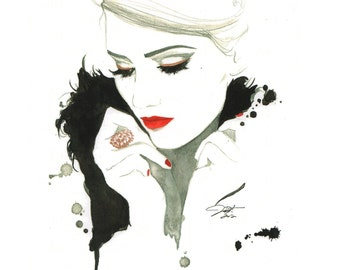 Don't Forget Me, Golden edition print from original watercolor and mixed media fashion illustration by Jessica Durrant