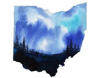 Ohio, print from original watercolor illustration by Jessica Durrant from Painting the 50 States Project