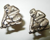 Vintage GORILLA Cufflinks COOL unusual Primatologist gift Monkey Chimp Cuff Links