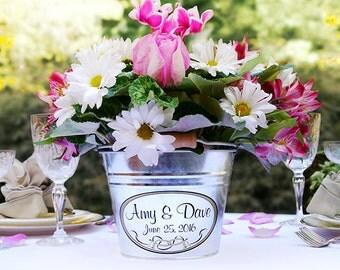 Custom Wedding Decor, Personalized Wedding Centerpiece, Wedding table decor ideas, Wedding DIY, Bridal Shower Decor, Galvanized Metal Bucket
