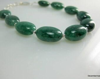 Emerald Green Beryl Bracelet in Sterling Silver