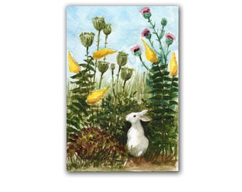 White Bunny in Wild Flowers  LLMartin Original Watercolor Painting Virginia Country Free First Class Shipping USA