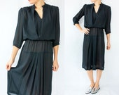 SALE...80's Vintage Black Semi Sheer Chiffon Dress / Pleated Skirt / Midi Length / Puff Sleeves