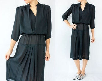 SALE...80's Vintage Black Semi Sheer Chiffon Dress / Pleated Skirt / Midi Length / Puff Sleeves