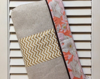 Natural Linen, floral, and gold chevron Wristlet Clutch