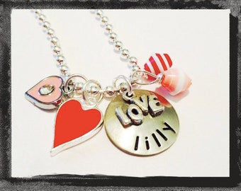 Personalized Valentine Necklace LOVE Valentines Day Necklace #V3 Ships within 3 days of order.