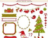 ON SALE Christmas clip art, Christmas tree clip art, christmas frame, banner, christmas bunting clip art, digital clipart,instant download