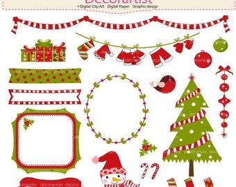 ON SALE Christmas Clipart, Christmas tree Clipart, Christmas frame, banner, christmas bunting clip art, digital clipart, instant download