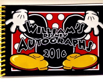 Personalized Disney Autograph Book MICKEY MOUSE Gloves and Shoes  Custom Book Free Personalization