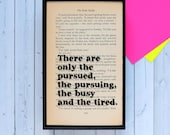 The Great Gatsby quote 'There are only the pursued...' vintage book page framed print