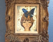 L Gonjean oil on board of girl with butterfly