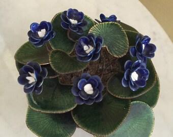 Gorgeous mid century copper enamel African violet plant