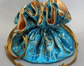 Aqua Blue Paisley Satin Brocade Organizer Pouch---Jewelry Drawstring Travel Tote--Medium Size