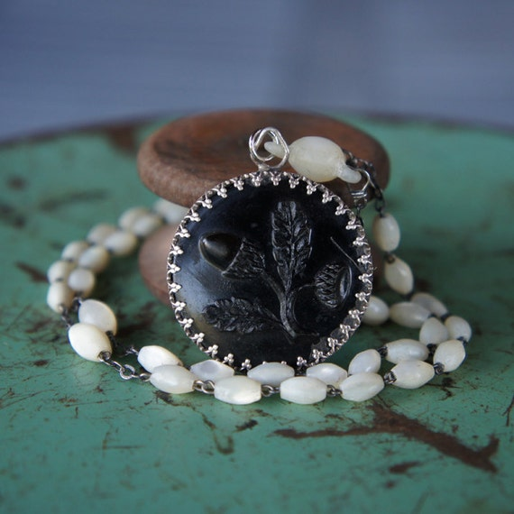 Antique Assemblage Necklace with FrenchMother of Pearl Rosary Beads and an AcornButton Pendant