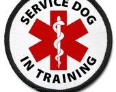 In Training Service Dog Medical Alert Black Rim Sew-on Patch (Choose Size)