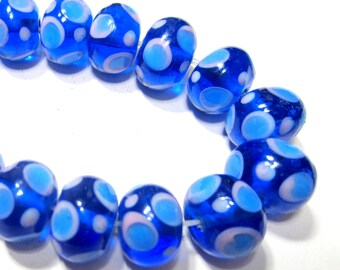 18 Blue lampwork glass beads royal blue pink polka dot beads blue spotted lampwork beads SB1