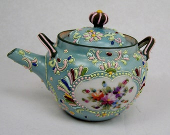 Rare Asian Moriage Antique Tea Pot, Vintage Hand Painted Porcelain, Arita, 1868-1945, Raised Paint, Embossed Beaded Japanese Enamels, Nippon