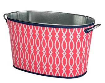 Monogrammed Coral Beverage Bucket Trimmed in Navy; Neoprene Cover Prevents Your Bucket From Sweating;Fabulous Gift for Everyone