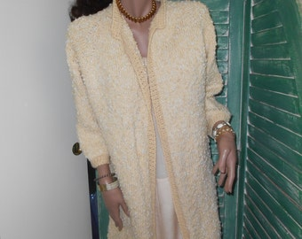 Awesome Off-White Hand-Knit Wool Sweater Coat - Size M-L