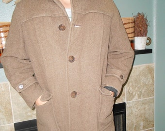Men's Heavy Brown Wool Winter Coat/Jacket - Size XL