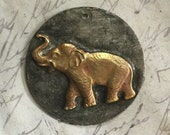 "Small 1 1/4"" Rustic Soldered Molten Metal Elephant Raw Brass Pendant Bohemian Elephant Charm Brass Metalwork, Metalsmith, Mixed Metals"