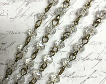 """1 Meter 39.5"""" Linked Clear Rondelle Beaded Chain Antique Brass wire 6 x 4mm Clear Faceted bead Rosary style chain Beading Component necklace"""