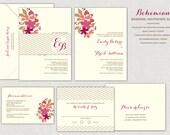 Bohemian Wedding Invitation Set, Burgandy, Blush, Peach, Belly Band, Romantic Wedding