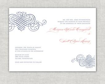 Coral & Navy Wedding Invitation, Navy Wedding Invites, Elegant Wedding Invitations, Linen Invitations, Romantic Wedding, Modern Wedding