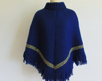 60s Hand Knit WOOL PONCHO in navy with turtleneck and fringe size medium