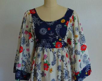 70s Boho PEASANT STYLE maxi dress size medium
