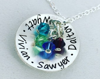 Personalized domed mother necklace with up to 4 birthstone crystals - Mom Jewelry - Mother Necklace - Birthstone Necklace - Name necklace