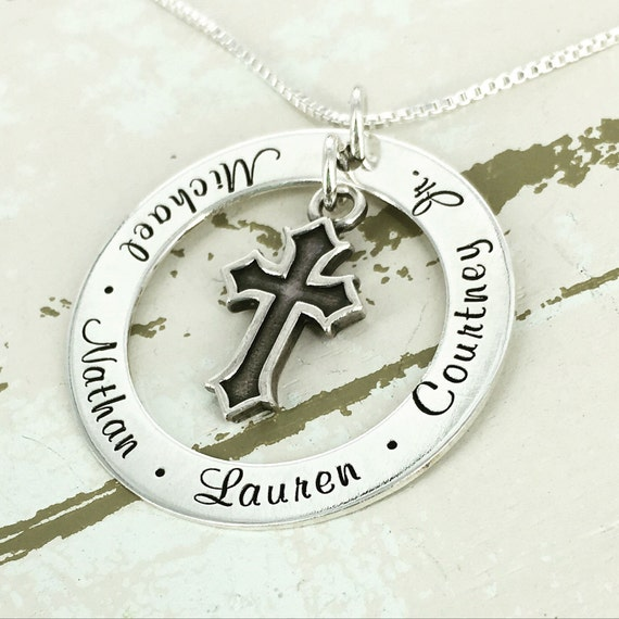 """Personalized 1 1/4"""" mother loop necklace with inset cross charm - Cross Jewelry - Personalized Necklace - Mother Necklace"""