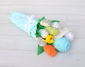 Baby Gift, Baby Bouquet, Gender Neutral Baby Shower Gift, Unique Baby Gift, Pregnancy Announcement Gift, Baby Clothing for Baby Boy or Girl