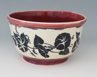 Ceramic art bowl, Sgraffito carved ceramic bowl, morning glory bowl, Decorative Bowl, Wheel thrown bowl, Stoneware bowl, Red ceramic bowl