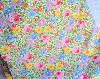 Vintage Bed Sheet - Garden Floral Multi Colored Pastel - Twin Flat