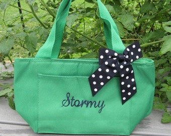Monogrammed Kelly Green Insulated Lunch Bag Box Cooler Personalized