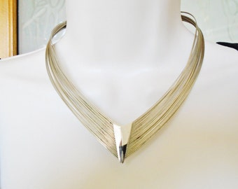 Vintage Modernist Choker Collar Minimalist Necklace Mod Art Deco Retro 20 Strands Contemporary Silver Metal Mothers Day   Runway Statement
