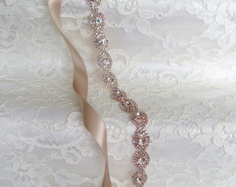 Rose Gold Crystal Rhinestone Bridal Sash,Wedding sash,Belts And Sashes,Bridal Accessories,Bridal Belt and sashes,Ribbon Sash,Style #36
