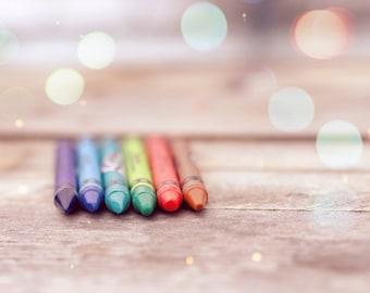 Crayon print, home decor, coloring photo, crayons, nursery decor, shabby chic, child's room photography, nursery wall art, boy's room rustic