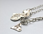 Handmade Textured Silver Dangling Hearts Necklace