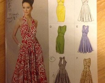 Vogue Pattern Options Easy 8727 Summer Halter Dress