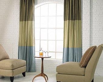 Three part color color block, linen curtain panels, drapes, rod pocket, choose your own colors, colorblock