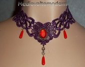 Choker OOAK Purple Red Tear Drop Intracate Venise Victorian Plum Wine Lace Necklace Small Elegant Party Prom Formal Evening Dinner Wear