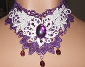 Choker in Purple Purple & WHite Stunning Cab Elegant Beaded Victorian Venise Necklace or Collar Wearable Art Runway