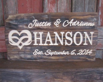 Personalized Wedding Gift Heart Infinity Distressed Weathered Wood Sign Family Last Name Sign CARVED Wooden Custom Plaque Infinity Love