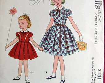 30% SALE UNCUT Vintage 1950's McCalls Pattern 3131 *  Little Toddler Girls'  Dress  * Size 4