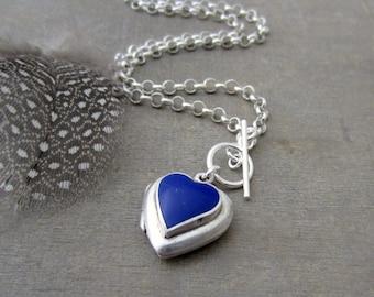 Modern Locket Necklace, Sterling Silver Locket Pendant, Lapis Necklace, Vintage Locket, Push Present, Silver Heart Locket, Push Gift for Mom