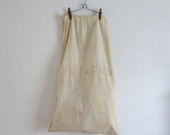 Vintage lingerie bag Odd and Ends lingerie bag Hanging lingerie bag Laundry bag Drawstring bag Early wire hanger Cotton drawstring bag