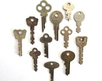 12 keys, vintage key collection, weird, writing and numbers, lots of keys, craft, keys, diy key, key assortment, odd keys, authentic, old 12