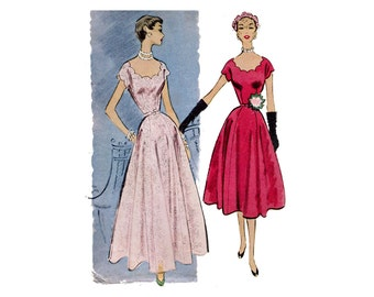 1950s Dinner or Afternoon Dress Pattern Scallop Scoop Neckline Flared Skirt Kimono Sleeve McCalls 8735 Bust 40 Vintage Sewing Pattern
